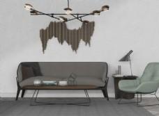 北欧客厅茶几沙发灯具组合模型