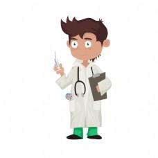 卡通白大褂医生职业矢量素材