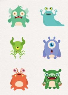 淡色配色设计卡通怪物