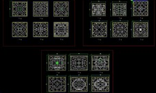 中式古建方形花窗