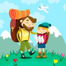 扁平化背包客旅游人物元素