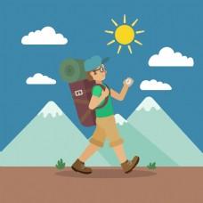 扁平化背包旅游远山图案元素