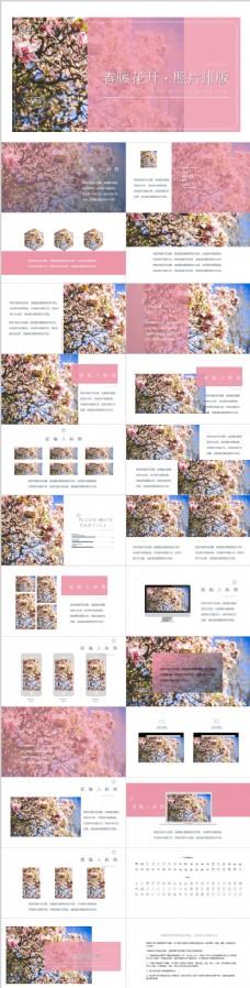 粉嫩春季小清晰图片排版PPT模板