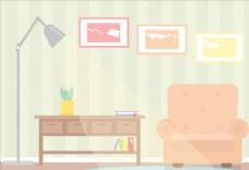 卡通扁平化风格房间