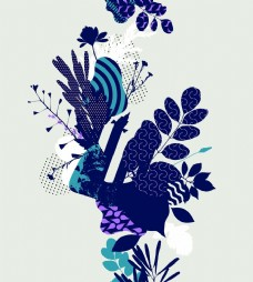 树叶抽象挂画设计素材