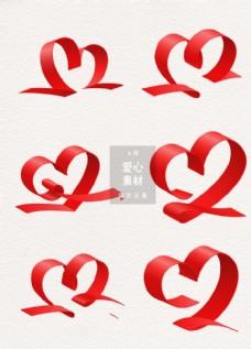 丝带爱心装饰图案设计素材