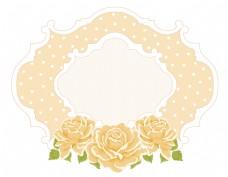 卡通黄色玫瑰花欧式边框元素