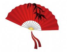 手绘火红中国风扇子矢量图