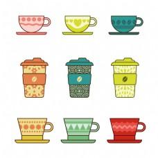 9款创意彩色咖啡杯元素