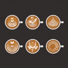 6款创意咖啡拉花元素矢量图