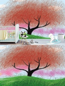 儿童房壁纸样机线圈森林壁纸