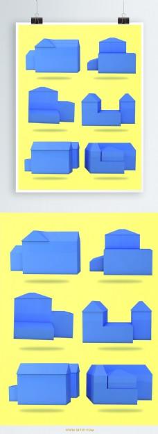 建筑物设计房地产设计元素黄蓝