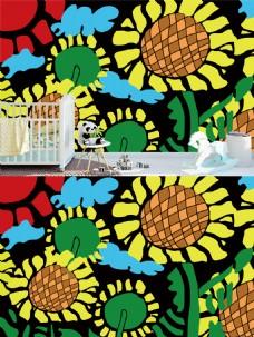 向日葵儿童房墙画装饰背景