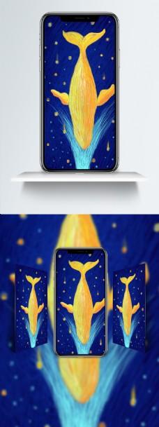 梦幻风格鲸落线圈插画手机壁纸