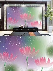 池塘荷花雨后手绘装饰画