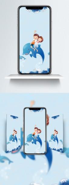 世界海洋日蓝色卡通手机壁纸