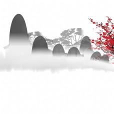 红梅给宁静的远山带来了喜庆