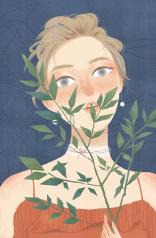 花与少女手绘插画