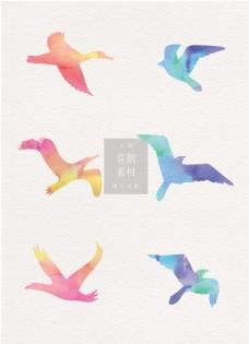 喜鹊素材彩绘水彩ai矢量元素