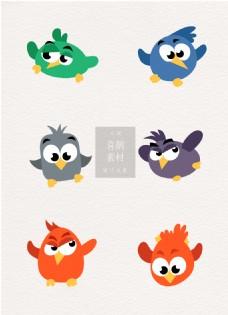 喜鹊素材可爱鸟类头像卡通ai矢量