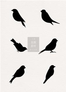黑白喜鹊鸟类ai矢量素材