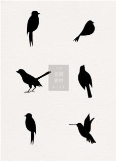 喜鹊鸟类黑白ai矢量素材