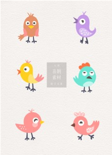 彩色卡通可爱鸟类ai喜鹊素材