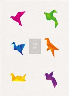 喜鹊彩色折纸ai矢量元素素材