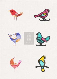 喜鹊素材手绘鸟类ai矢量元素