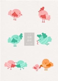 喜鹊可爱鸟类ai矢量元素素材