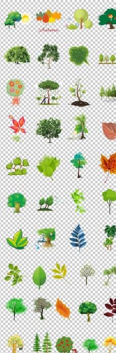 春天树木绿色小树卡通树木树叶