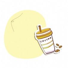 矢量卡通扁平化咖啡边框