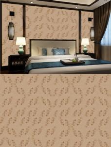 新中式卧室背景墙壁纸暗金拼花续壁纸贴图