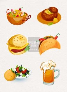 手绘食物插画矢量装饰图案