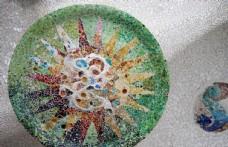 奎爾公園 屋頂 馬賽克圓盤裝飾
