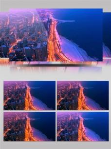 海边城市延迟拍摄夜景车水马龙灯火通明