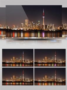 灯火璀璨的高楼大厦夜景延迟实拍