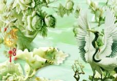 家和富贵 玉雕  仙鹤