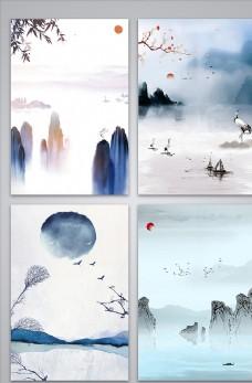 简约中国风山水背景图