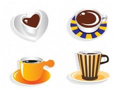 矢量彩色条纹咖啡杯元素